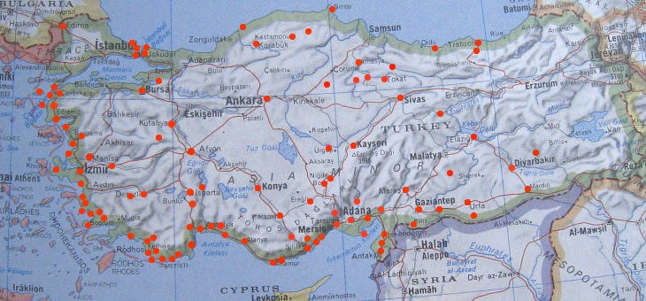 Map of the towns and archaeological sites in the Republic of Turkey